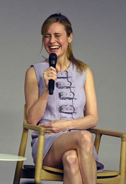 "Brie Larson cracks up at a ""Kong: Skull Island"" cast event at the Apple store in Soho, NYC on March 6, 2017. (Photo by Derek Storm/Splash News and Pictures)"