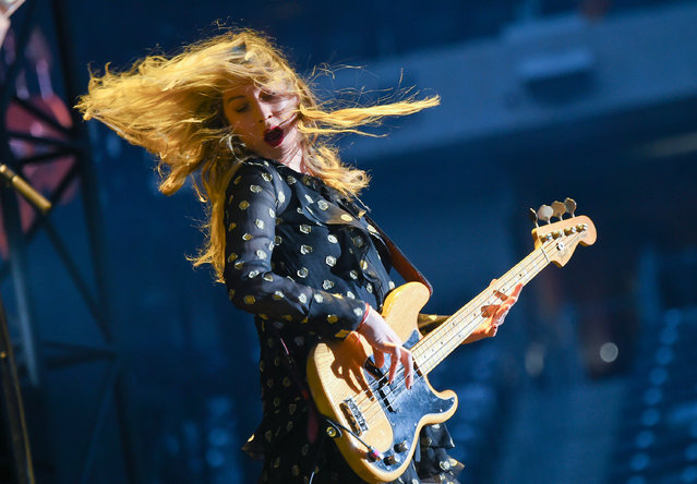 "Musician Este Haim of the group Haim performs during Taylor Swift's ""1989"" world tour at MetLife Stadium in East Rutherford on Friday, July 10, 2015, in New Jersey. (Photo by Evan Agostini/Invision/AP Photo)"