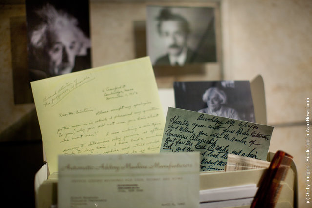 Documents are seen on display as the Hebrew University of Jerusalem launches the all-new, expanded Albert Einstein Archives