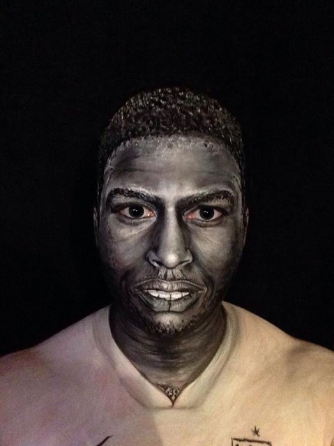 Footballer Daniel Sturridge. 40-year-old London-based makeup artist, Maria Malone-Guerbaa has the ability to transform herself into any celebrity or creature using only her basic makeup essentials. Maria used only make up and face paints to create the illusion of Nelson Mandela, Britain's Queen Elizabeth II, and many other A-list celebrities. (Photo by Maria Malone-Guerbaa/Rex Features USA)