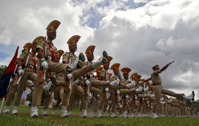 Members of India's Tripura State Rifles (TSR) take part in the full-dress rehearsal for India's Independence Day celebrations in Agartala, India, August 13, 2015. (Photo by Jayanta Dey/Reuters)