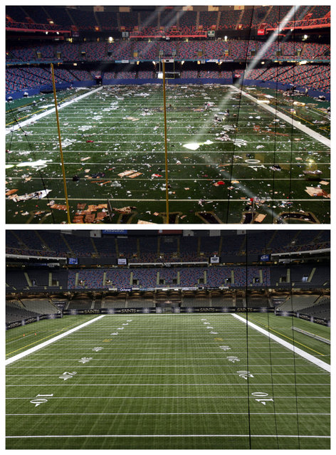 This combination of September 2, 2005 and August 14, 2015 photos shows the playing field of the Louisiana Superdome in New Orleans littered with debris after serving as a shelter for victims from Hurricane Katrina, and a decade later, the renamed Mercedes-Benz Superdome. (Photo by Bill Haber/Gerald Herbert/AP Photo)