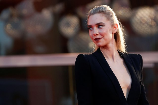 """Vanessa Kirby walks the red carpet ahead of the movie """"The World To Come"""" at the 77th Venice Film Festival on September 06, 2020 in Venice, Italy. (Photo by Guglielmo Mangiapane/Reuters)"""