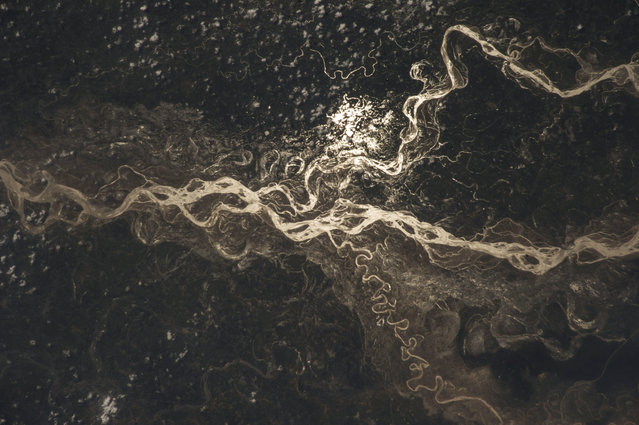 Image of the Sharda river taken by astronauts on board the International Space Station (ISS) on August 22, 2014 at Sharda River, India. (Photo by NASA/SPL/Barcroft Media)