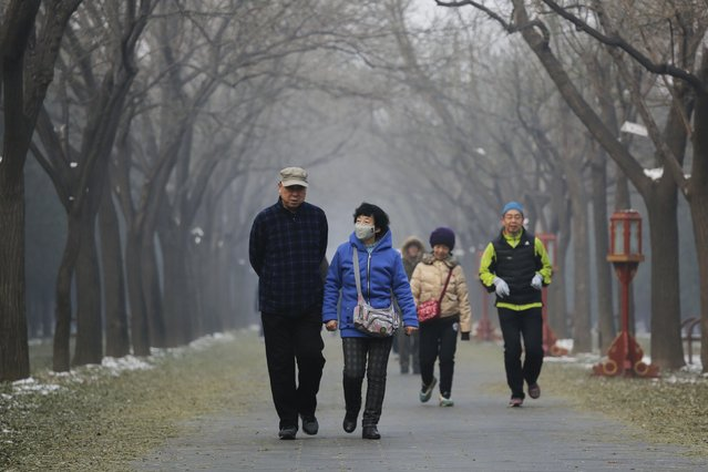 People walk in a park on a heavily polluted morning in Beijing, China, November 29, 2015. (Photo by Damir Sagolj/Reuters)