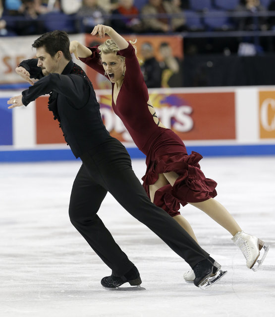 Madison Hubbell, right, and Zachary Donohue perform during their short dance program in the U.S. Figure Skating Championships in Greensboro, N.C., Friday, January 23, 2015. (Photo by Gerry Broome/AP Photo)