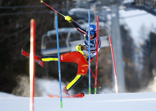 Canada's Jeffrey Read in action during his men's Alpine Combined Slalom run during FIS Alpine World Ski Championships in Cortina d'Ampezzo, Italy on February 15, 2021. (Photo by Denis Balibouse/Reuters)