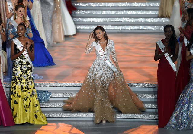 Valerie About Chacra, Miss World Lebanon reacts after entering the semi final at the Miss World Grand Final in Sanya, in southern China's Hainan province on December 19, 2015. (Photo by Johannes Eisele/AFP Photo)