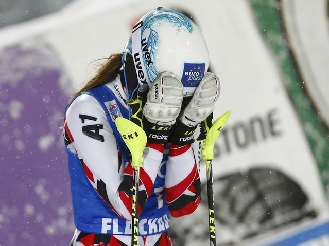 Carmen Thalmann of Austria reacts following the women's Alpine Skiing World Cup slalom race in Flachau, Austria January 15, 2016. (Photo by Dominic Ebenbichler/Reuters)