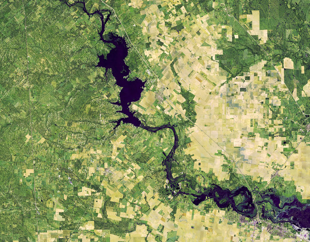 A false-color image from Operational Land Imager (OLI) on the Landsat 8 satellite shows flooding along the Nueces River after a historic amount of rain from the remnants of Hurricane Willa in central Texas, November 1, 2018. (Photo by NASA/GSFC/Joshua Stevens/Handout via Reuters)