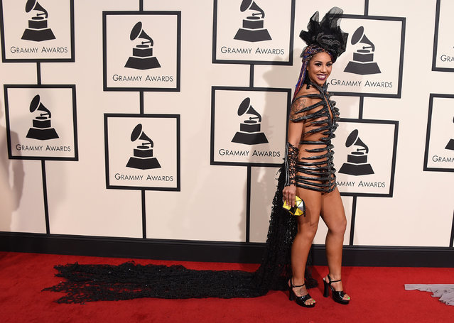 Joy Villa arrives at the 58th annual Grammy Awards at the Staples Center on Monday, February 15, 2016, in Los Angeles. (Photo by Jordan Strauss/Invision/AP Photo)