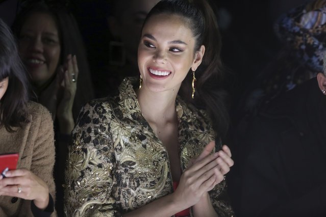Miss Universe 2018 Catriona Gray attends the Naeem Khan Runway Show at Spring Studios during New York Fashion Week on Tuesday, February 12, 2019 in New York. (Photo by Brent N. Clarke/Invision/AP Photo)