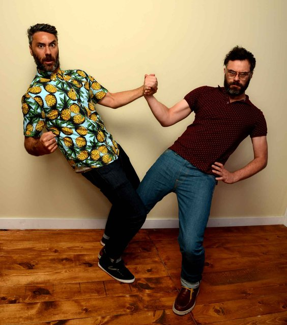 Filmmakers Taika Waititi (L) and Jermaine Clement pose for a portrait during the 2014 Sundance Film Festival at the WireImage Portrait Studio at the Village At The Lift on January 20, 2014 in Park City, Utah. (Photo by Larry Busacca/AFP Photo)