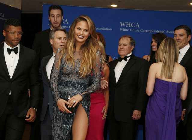 Model Chrissy Teigen arrives for the annual White House Correspondents' Association dinner in Washington April 25, 2015. (Photo by Jonathan Ernst/Reuters)