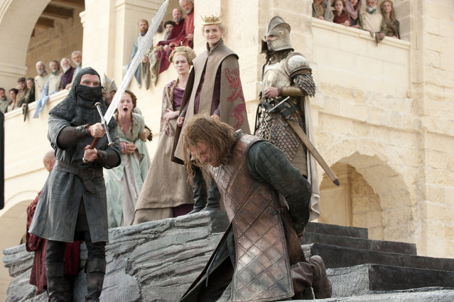 "This photo of released by HBO shows Sean Bean portraying Eddard Stark in ""Game of Thrones"". Where most ""Game of Thrones"" fans were horrified by the beheading of the beloved Ned Stark and blamed it on a ruthless king, Columbia University business professor Bruce Craven saw a lesson in failed leadership. The final season of the popular series premieres on April 14. (Photo by HBO via AP Photo)"