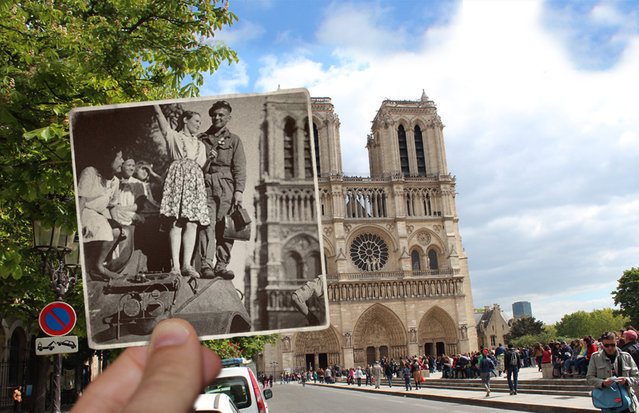 Notre Dame Cathedral in the 1940s. (Photo by Julien Knez/Caters News)