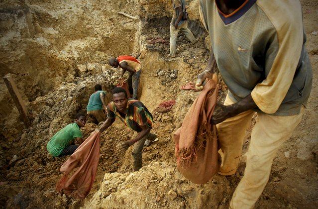 Prospectors search for gold at a gold mine near the village of Gamina, in western Ivory Coast, March 17, 2015. (Photo by Luc Gnago/Reuters)
