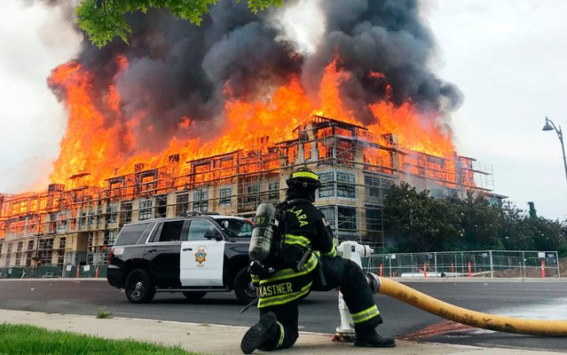 A massive blaze destroys a block-long condominium complex under construction on El Camino Real near Scott Boulevard in Santa Clara, Calif., Friday, June 28, 2019. Santa Clara County Fire Chief Bill Kelly said the fire broke out at the four-story building shortly after noon Friday, sending construction workers fleeing from the heat and flames. Kelly said everyone evacuated safely but one worker was sent to the hospital after suffering a leg injury while jumping from scaffolding. (Photo by Lauren Hernandez/San Francisco Chronicle via AP Photo)