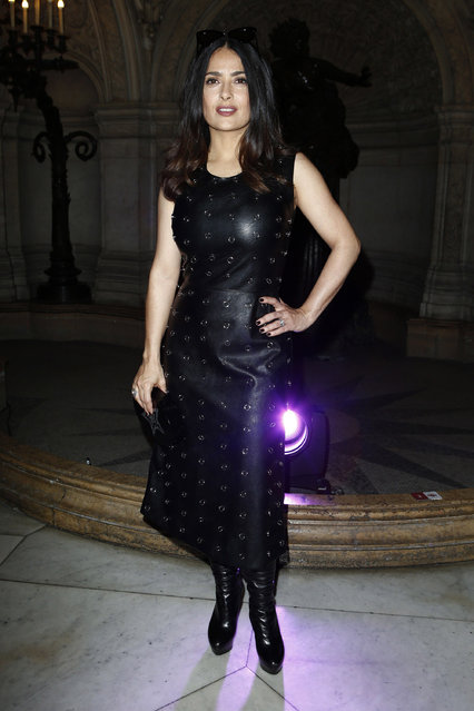 Salma Hayek attends the Stella McCartney show as part of the Paris Fashion Week Womenswear Fall/Winter 2017/2018 on March 6, 2017 in Paris, France. (Photo by Newspictures/Splash News and Pictures)