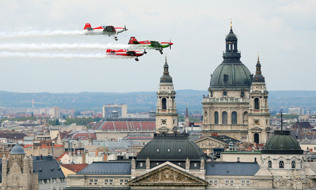 Zoltan Veres of Hungary and his formation team perform during an air show in Budapest, Hungary, May 1, 2016. (Photo by Laszlo Balogh/Reuters)