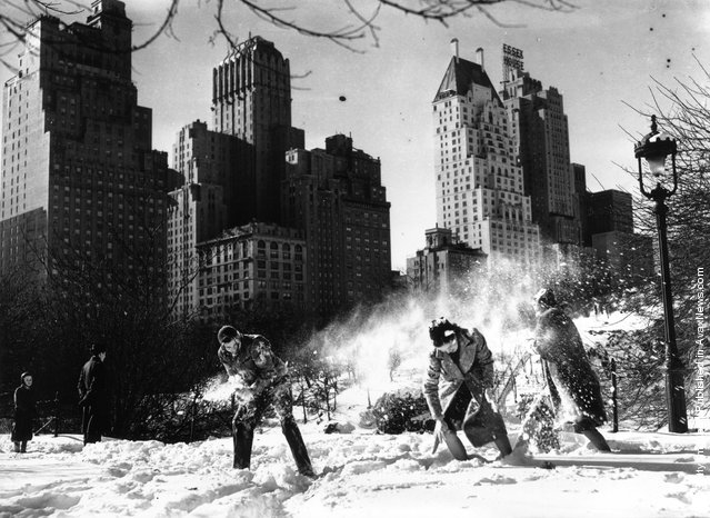 A snowball fight in Central Park, New York, after the first snowfall of 1938