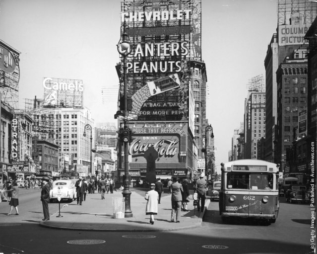 A view of Times Square at the intersection of Broadway and 7th Avenue, New York City, New York, 1941