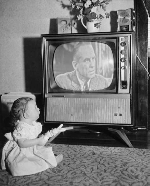 Eight month old  Andrea Whalen holds trick rabbit that causes the  television set to change channels when bunny is pressed and squeaks on February 6, 1961. Set  has a remote control device which is evidently activated by squeak from rabbit. (Photo by AP Photo)