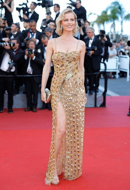 """Eva Herzigova attends the """"Ismael's Ghosts (Les Fantomes d'Ismael)"""" screening and Opening Gala during the 70th annual Cannes Film Festival at Palais des Festivals on May 17, 2017 in Cannes, France. (Photo by Andreas Rentz/Getty Images)"""
