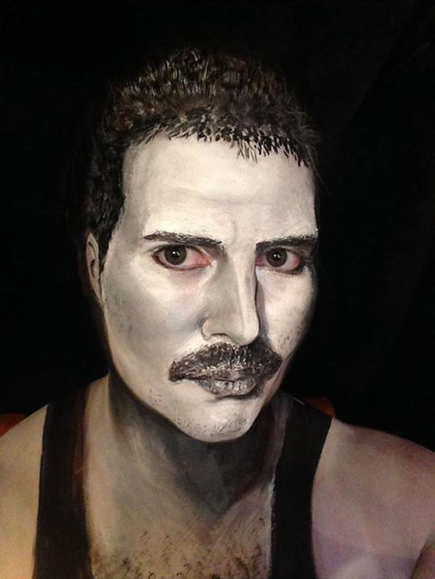 Freddie Mercury. 40-year-old London-based makeup artist, Maria Malone-Guerbaa has the ability to transform herself into any celebrity or creature using only her basic makeup essentials. Maria used only make up and face paints to create the illusion of Nelson Mandela, Britain's Queen Elizabeth II, and many other A-list celebrities. (Photo by Maria Malone-Guerbaa/Rex Features USA)