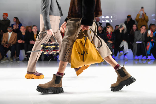 A model (bag detail) walks the runway at the Fendi fashion show on January 13, 2020 in Milan, Italy. (Photo by Jacopo Raule/Getty Images)