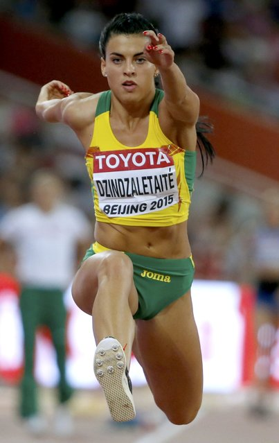 Dovile Dzindzaletaite of Lithuania competes in the women's triple jump qualification during the 15th IAAF World Championships at the National Stadium in Beijing, China August 22, 2015. (Photo by Phil Noble/Reuters)