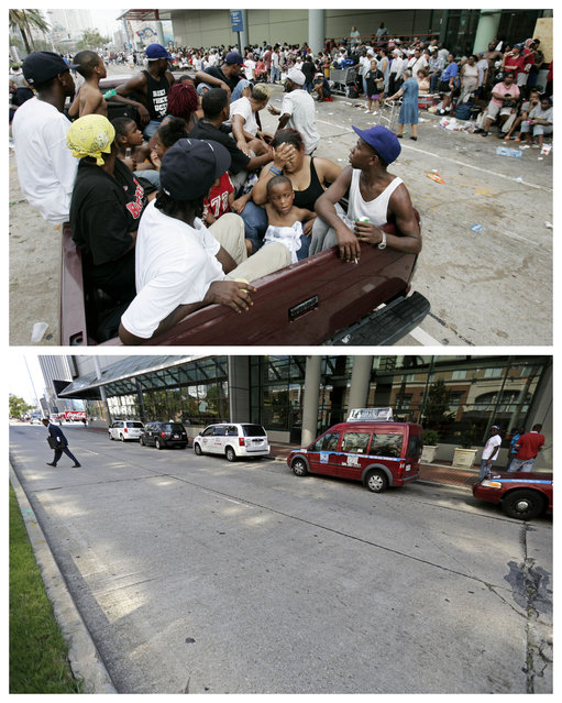 This combination of September 1, 2005 and August 14, 2015 photos shows flood victims in a pickup truck as hundreds of others wait for evacuation at the Ernest N. Morial Convention Center in New Orleans in the aftermath of Hurricane Katrina, and the same site a decade later. Nearly 2,000 people died because of the storm, mostly in New Orleans, 80 percent of which was flooded for weeks. One million people were displaced. (Photo by Eric Gay/Gerald Herbert/AP Photo)