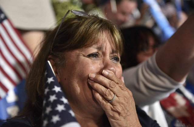 A delegate cries as Democratic presidential nominee Hillary Clinton accepts the nomination on the fourth and final nightat the Democratic National Convention in Philadelphia, Pennsylvania. U.S. July 28, 2016. (Photo by Charles Mostoller/Reuters)