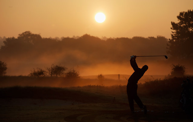 Shiv Kapur of India hits a shot on the driving range during Day 2 of the KLM Open held at De Kennemer Golf and Country Club on September 12, 2014 in Zandvoort, Netherlands. (Photo by Dean Mouhtaropoulos/Getty Images)
