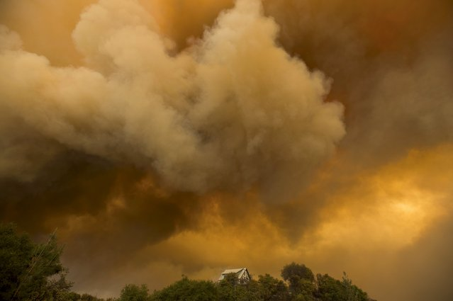 Billowing smoke rises above a residence as the Butte Fire burns in San Andreas, California September 11, 2015. (Photo by Noah Berger/Reuters)
