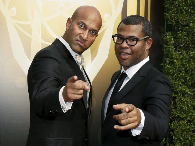 Keegan-Michael Key (L) and Jordan Peele (R) pose at the 2015 Creative Arts Emmy Awards in Los Angeles, California September 12, 2015. (Photo by Danny Moloshok/Reuters)