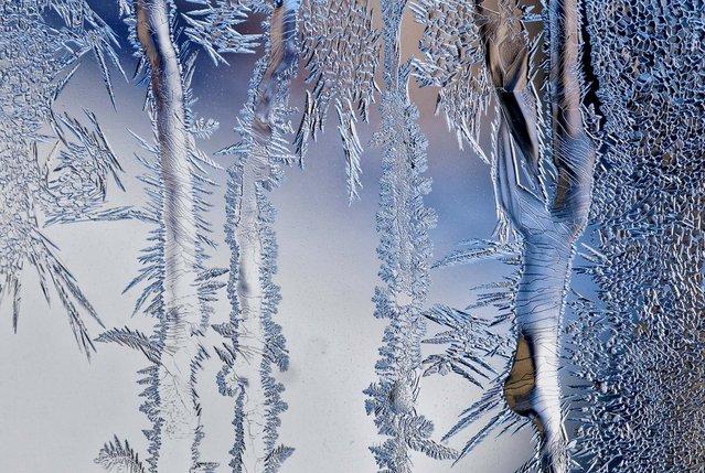 Frost covers a window in Zurich, Switzerland on February 4, 2012. (Photo by Alessandro Della Bella/Keystone)