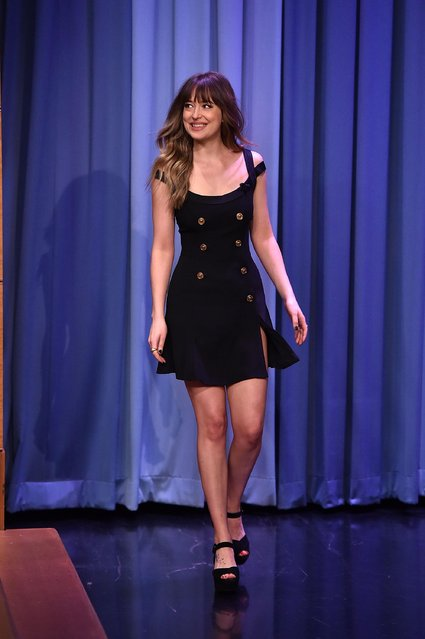 """Dakota Johnson Visits """"The Tonight Show Starring Jimmy Fallon"""" at Rockefeller Center on January 29, 2018 in New York City. (Photo by Theo Wargo/Getty Images)"""