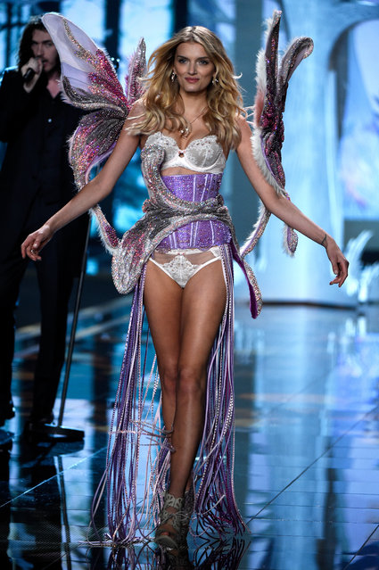 Model Lily Donaldson walks the runway at the annual Victoria's Secret fashion show at Earls Court on December 2, 2014 in London, England. (Photo by Pascal Le Segretain/Getty Images)