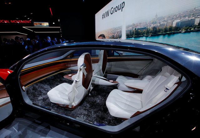 The inside of the I.D. Vizzion car model from Volkswagen is presented during the press day at the 88th Geneva International Motor Show in Geneva, Switzerland on Tuesday, March 6, 2018. (Photo by Denis Balibouse/Reuters)