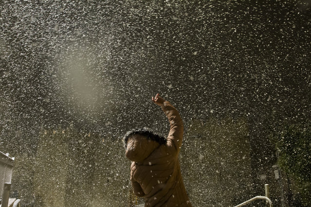 A woman touches snow flakes at Damascus Gate in Jerusalem's old city on February 17, 2021 in Jerusalem, Israel. Snow covered the city as wintery weather hits Israel. (Photo by Amir Levy/Getty Images)