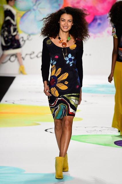 A model walks the runway at the Desigual fashion show during Mercedes-Benz Fashion Week Fall 2015 at The Theatre at Lincoln Center on February 12, 2015 in New York City. (Photo by Frazer Harrison/Getty Images for Mercedes-Benz Fashion Week)