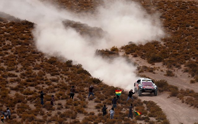 Stephane Peterhansel of France drives his Peugeot during the fifth stage Jujuy-Uyuni in the Dakar Rally 2016 near Uyuni, Bolivia, January 7, 2016. (Photo by Marcos Brindicci/Reuters)