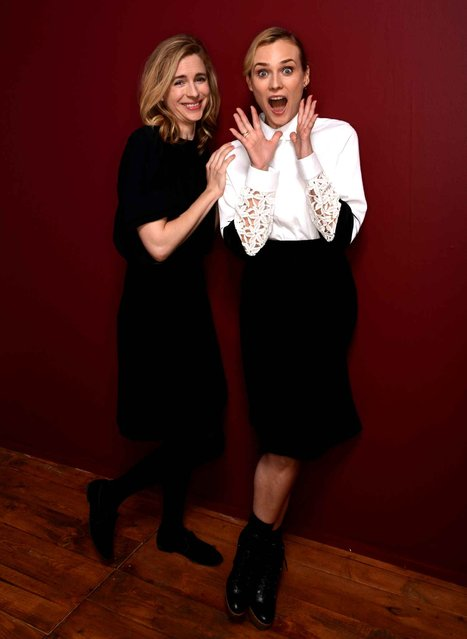 Actresses Brit Marling (L) and Diane Kruger pose for a portrait during the 2014 Sundance Film Festival at the WireImage Portrait Studio at the Village At The Lift on January 19, 2014 in Park City, Utah. (Photo by Larry Busacca/AFP Photo)