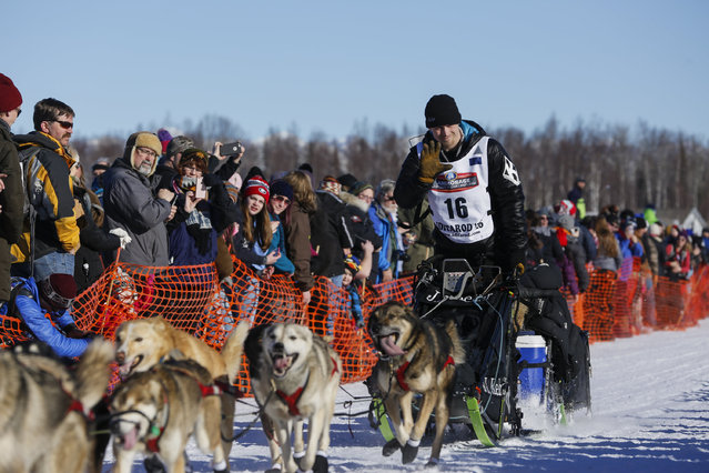 Dallas Seavey and team leave the start chute at the restart of the Iditarod Trail Sled Dog Race in Willow, Alaska March 6, 2016. (Photo by Nathaniel Wilder/Reuters)
