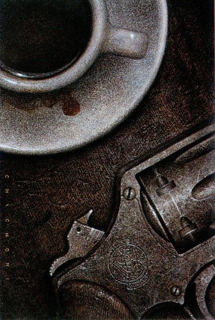 Gun and Coffee, cover for Cosecha Roja (Ediciones B, Spain). Artwork by Oscar Chichoni