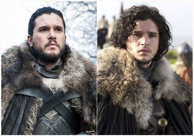"This combination photo of images released by HBO show Kit Harington portraying Jon Snow in ""Game of Thrones"". The final season of the popular series premieres on April 14. (Photo by HBO via AP Photo)"