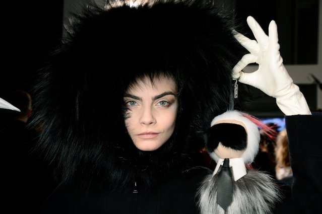 He has ended up face to face with the world's most famous models, including Cara Delevingne, pictured here in her mid-decade pomp. Here: Fendi, Autumn/Winter 2014. (Photo by Matt Lever)