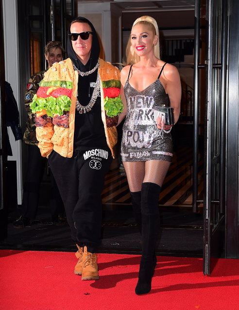 Gwen Stefani Heads to Met Gala After Party with Jeremy Scott Wearing a New York Post Moschino Dress on May 7, 2019. (Photo by DIGGZY/Splash News and Pictures)