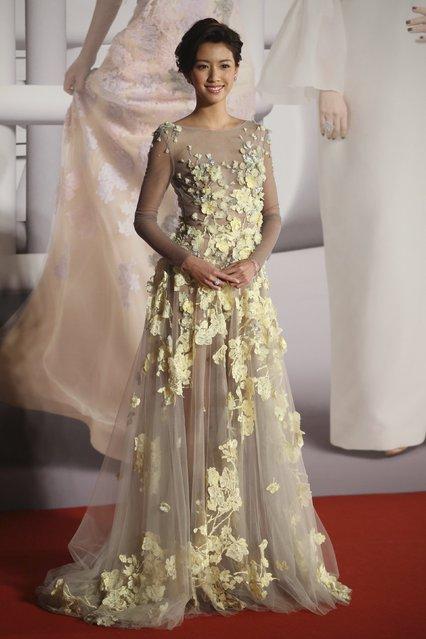 Hong Kong actress Sisley Choi poses on the red carpet at the Hong Kong Film Awards in Hong Kong, China April 3, 2016. (Photo by Reuters/Stringer)